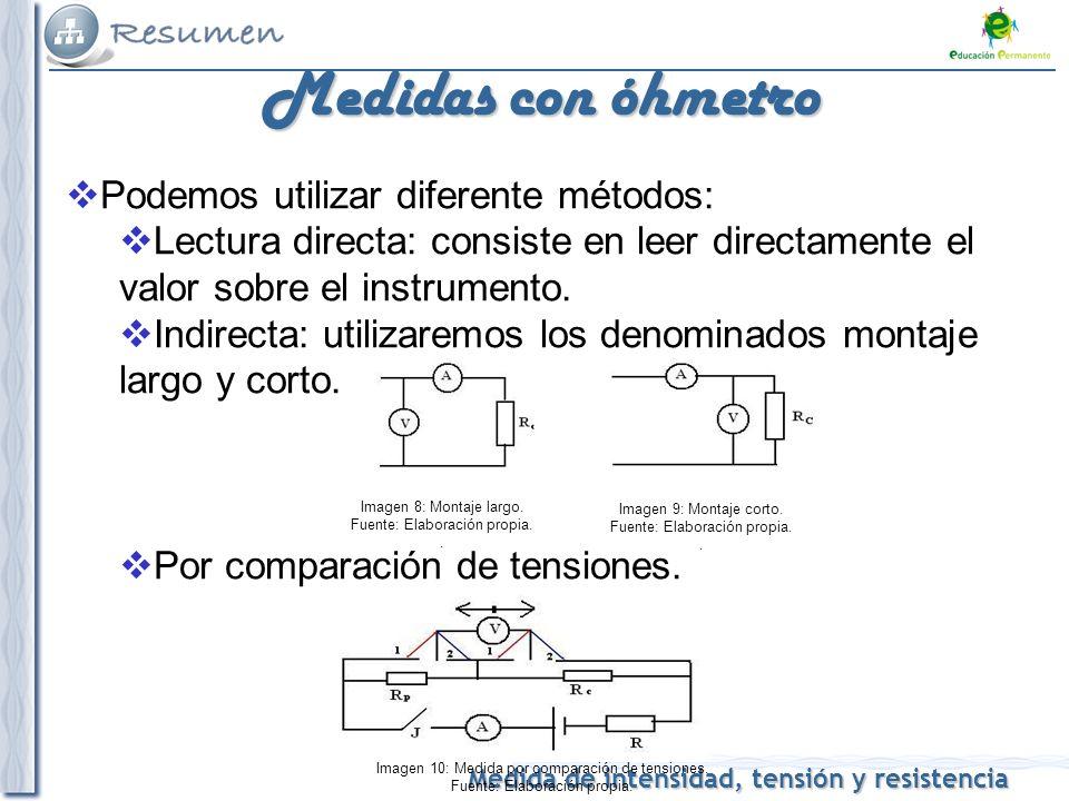 Medidas con óhmetro Podemos utilizar diferente métodos: