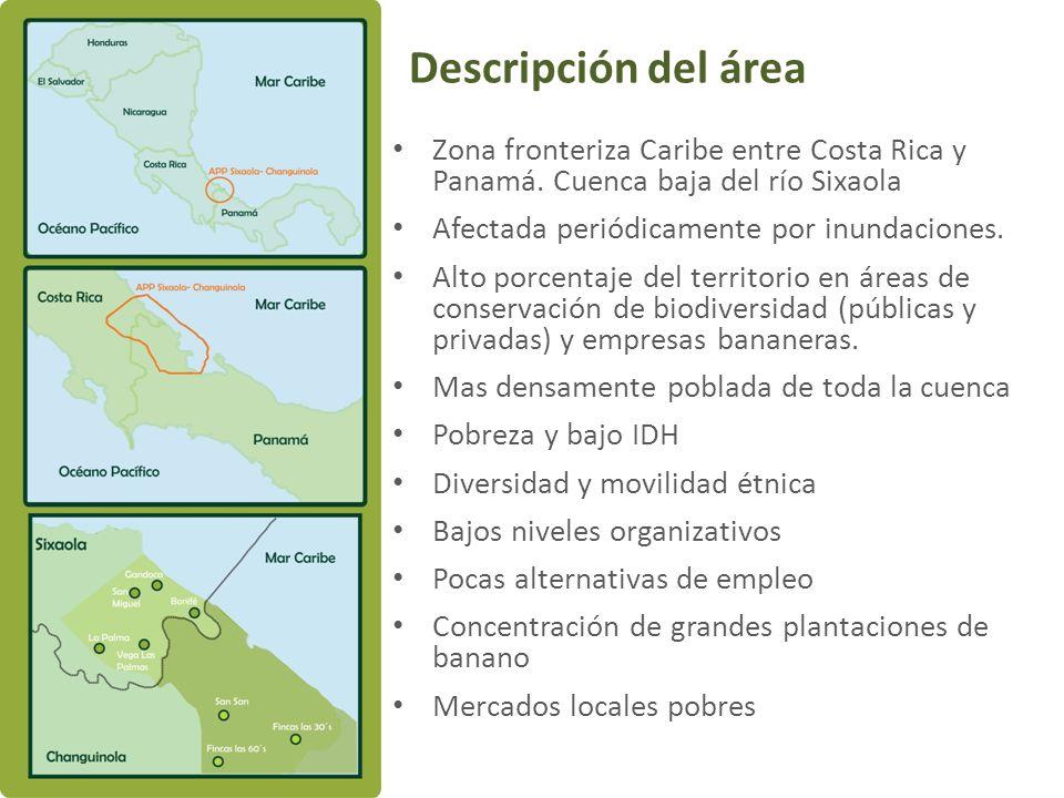 Descripción del áreaZona fronteriza Caribe entre Costa Rica y Panamá. Cuenca baja del río Sixaola.