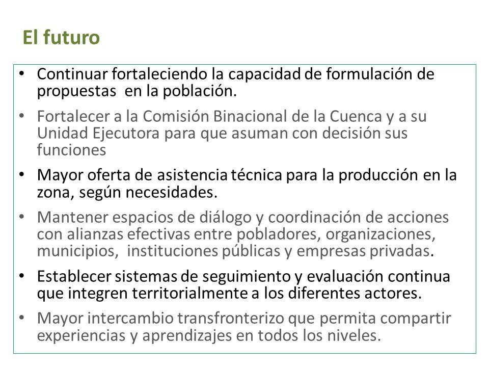 El futuro Continuar fortaleciendo la capacidad de formulación de propuestas en la población.