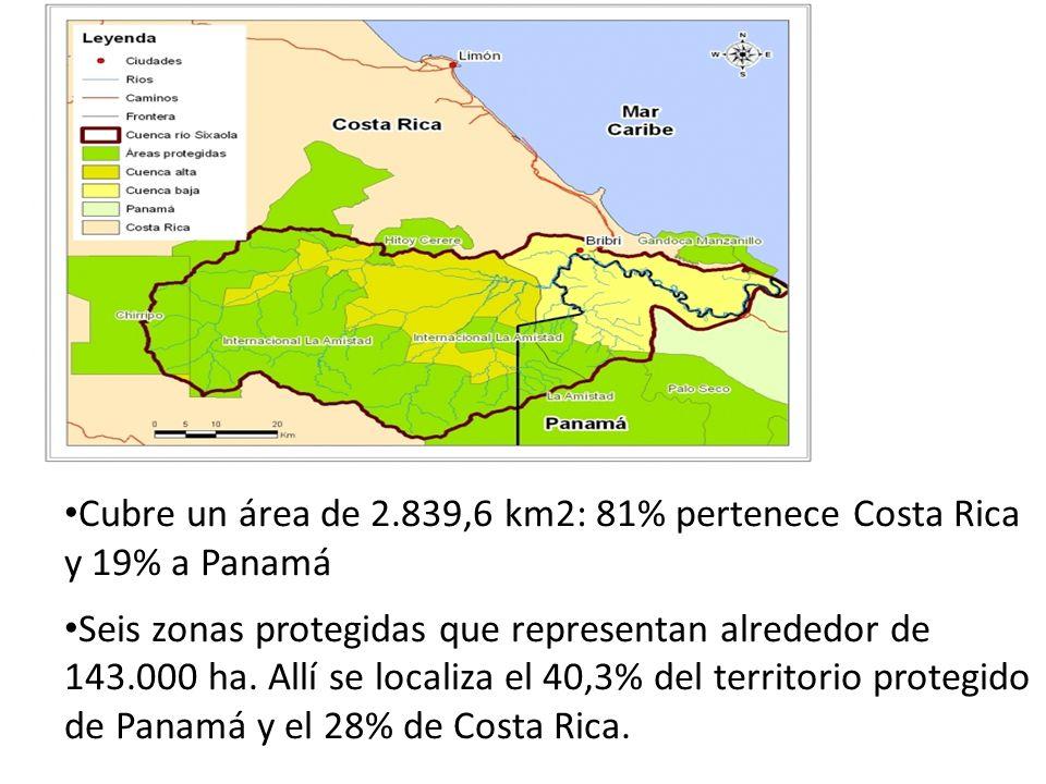 Cubre un área de 2.839,6 km2: 81% pertenece Costa Rica y 19% a Panamá