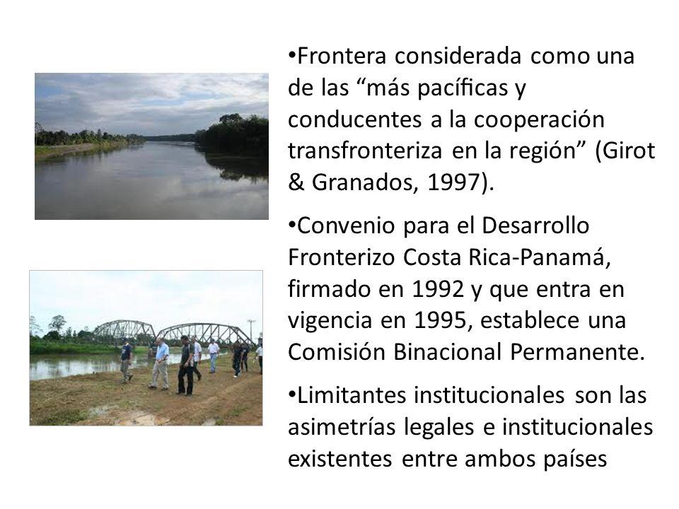 Frontera considerada como una de las más pacíficas y conducentes a la cooperación transfronteriza en la región (Girot & Granados, 1997).