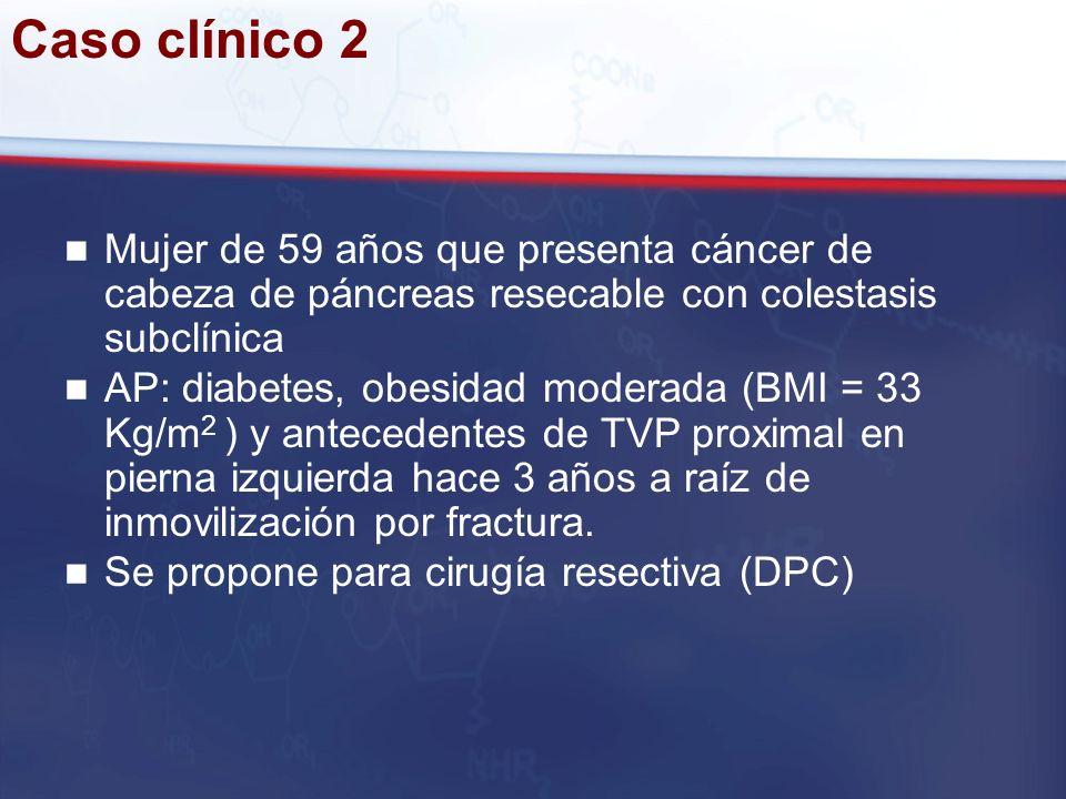 Caso clínico 2 Mujer de 59 años que presenta cáncer de cabeza de páncreas resecable con colestasis subclínica.