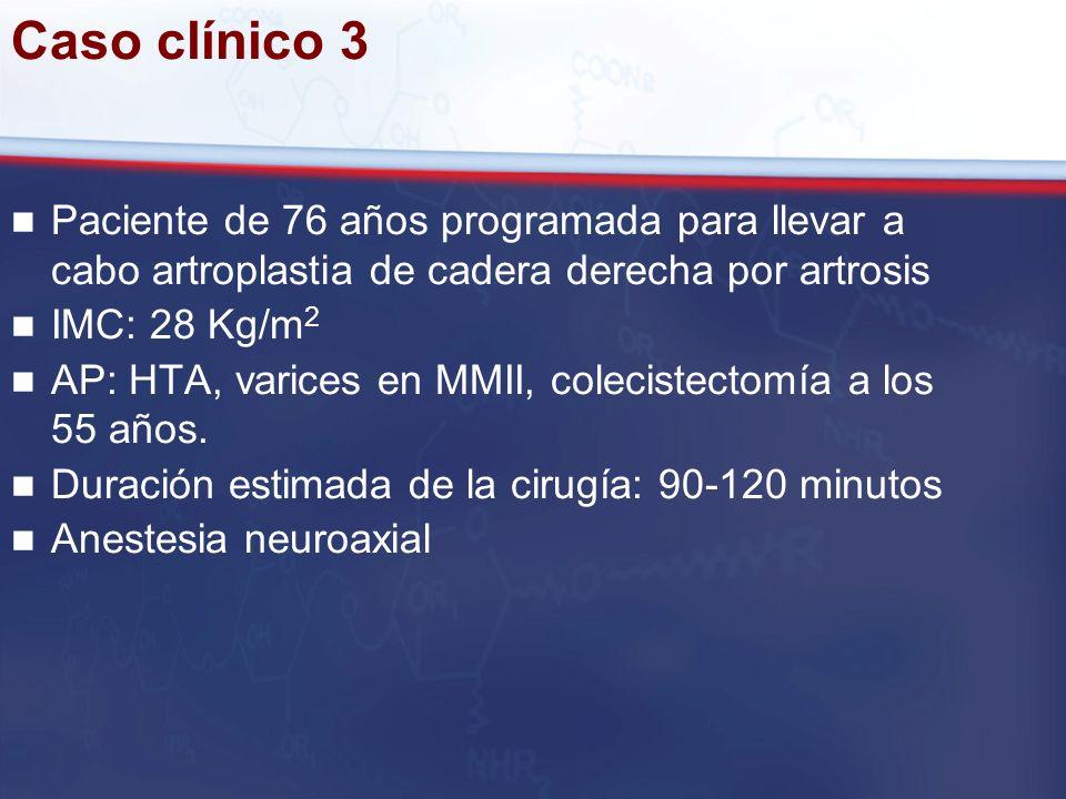 Caso clínico 3 Paciente de 76 años programada para llevar a cabo artroplastia de cadera derecha por artrosis.