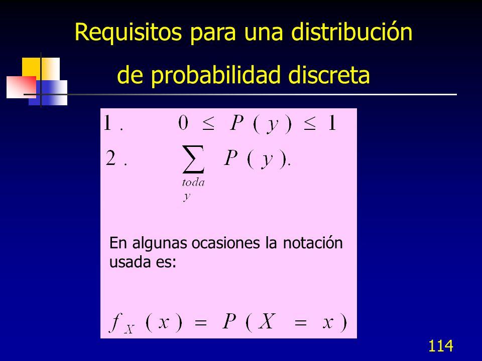 Requisitos para una distribución de probabilidad discreta