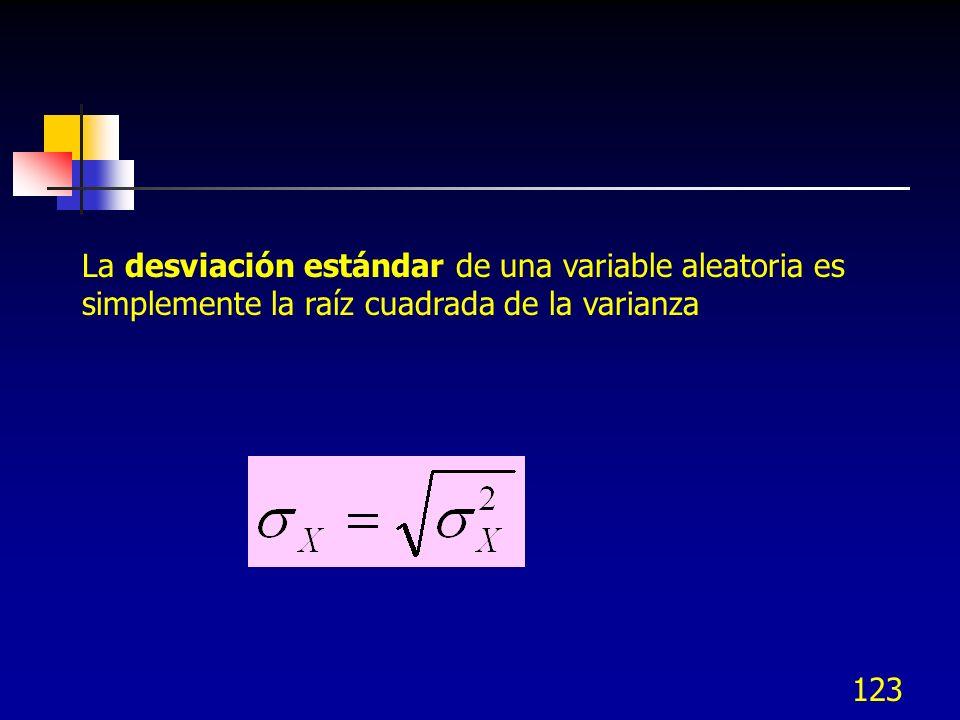 La desviación estándar de una variable aleatoria es simplemente la raíz cuadrada de la varianza