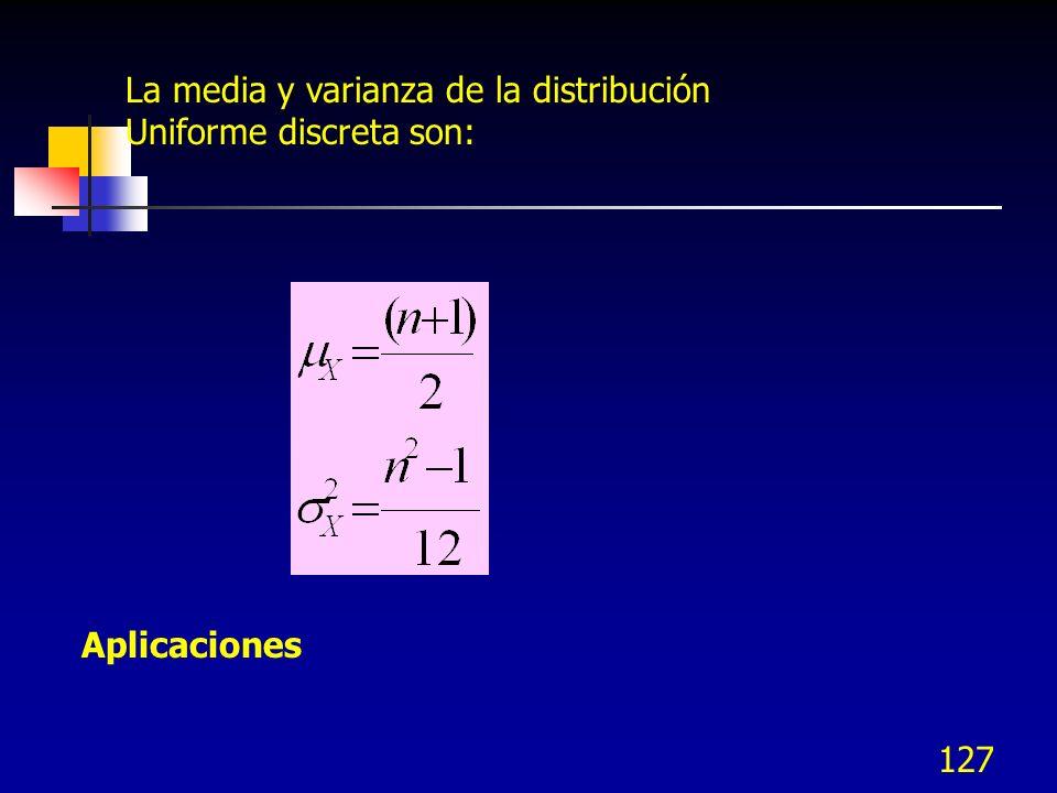 La media y varianza de la distribución Uniforme discreta son: