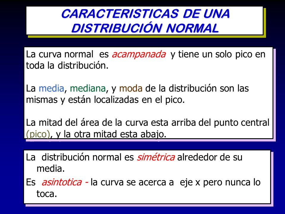 CARACTERISTICAS DE UNA DISTRIBUCIÓN NORMAL