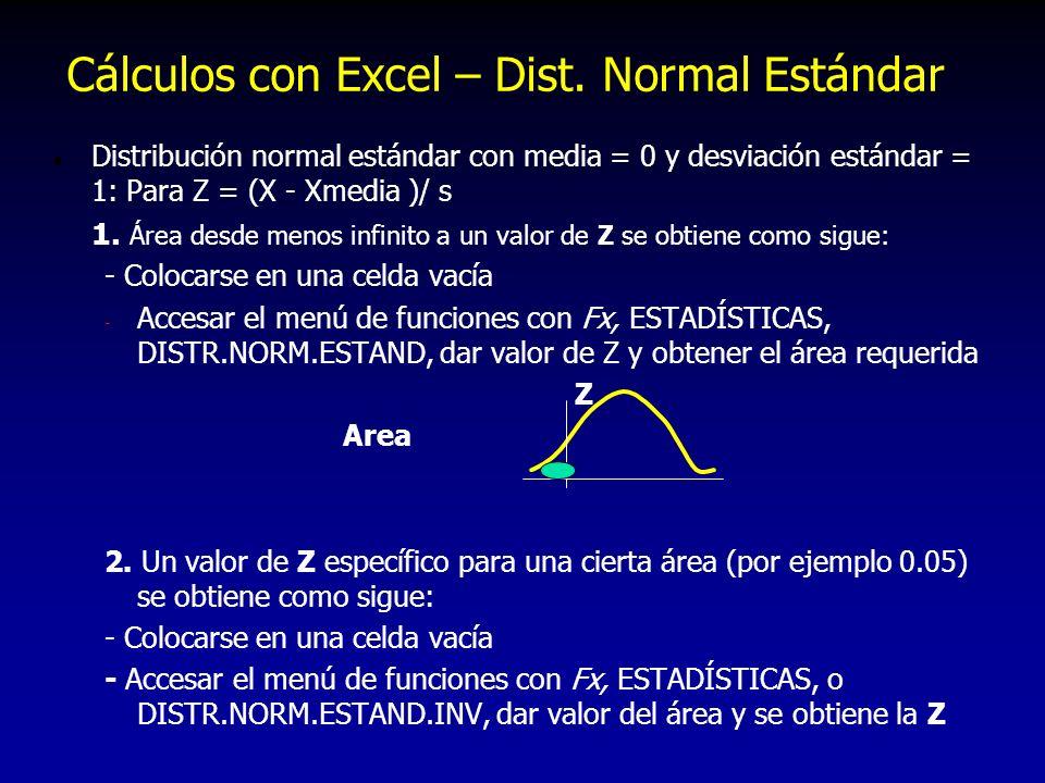 Cálculos con Excel – Dist. Normal Estándar