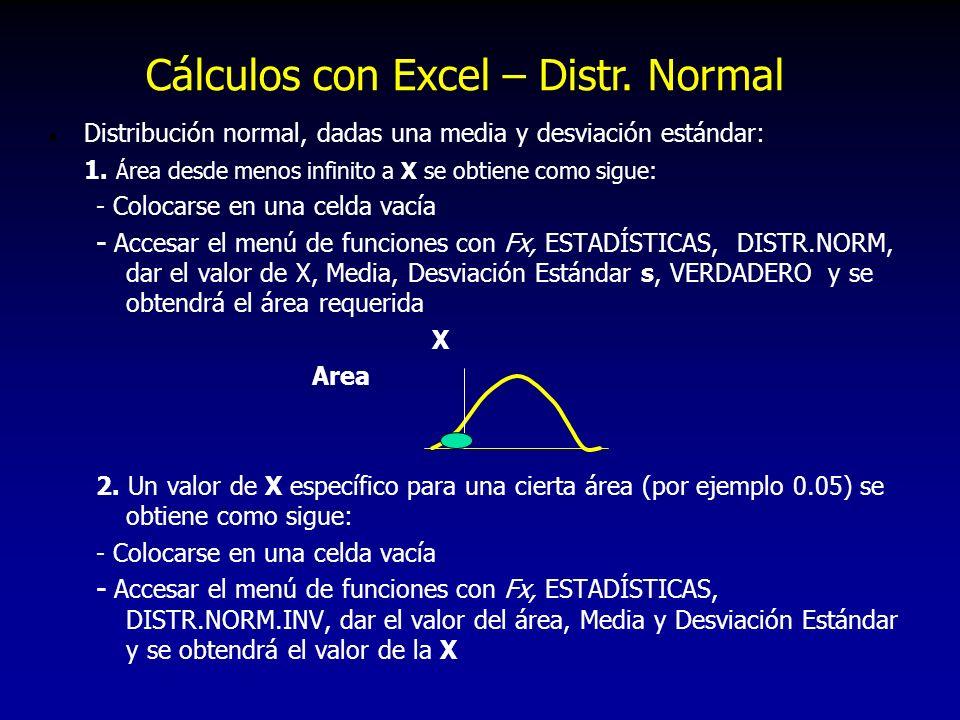 Cálculos con Excel – Distr. Normal
