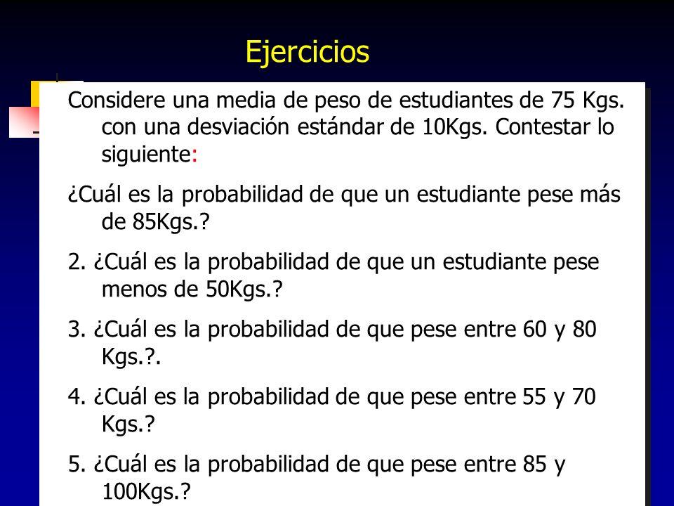 Ejercicios Considere una media de peso de estudiantes de 75 Kgs. con una desviación estándar de 10Kgs. Contestar lo siguiente: