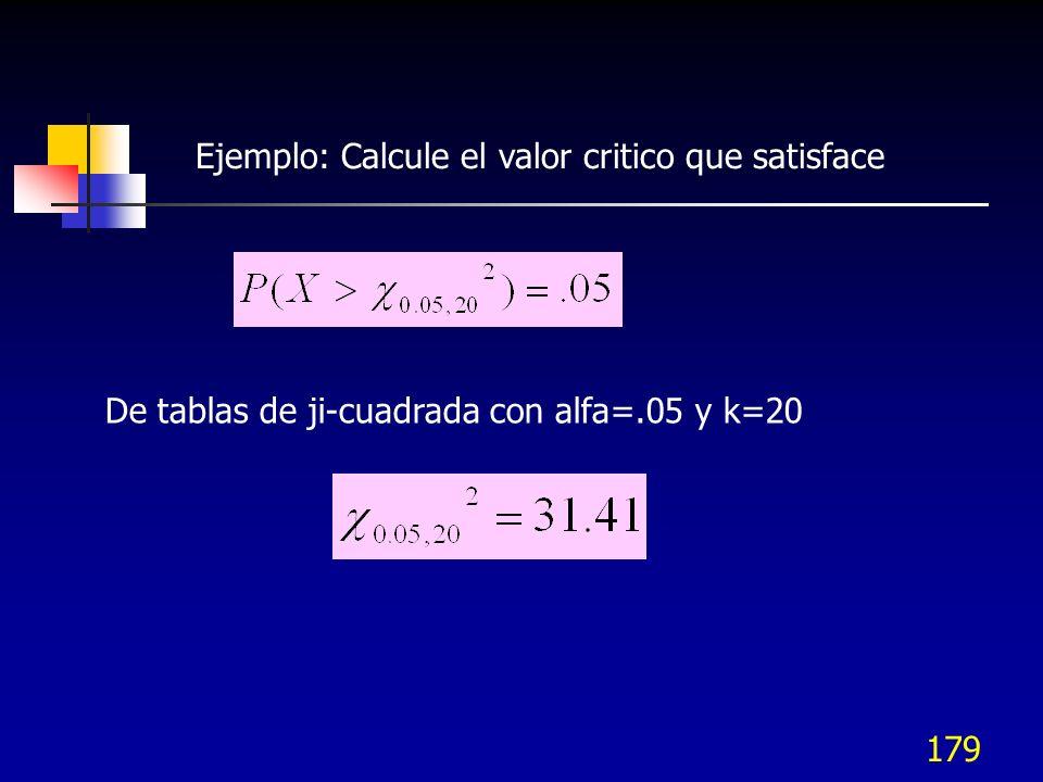 Ejemplo: Calcule el valor critico que satisface