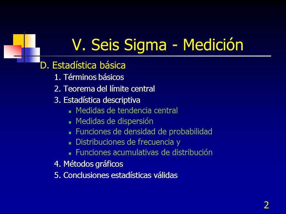 V. Seis Sigma - Medición D. Estadística básica 1. Términos básicos