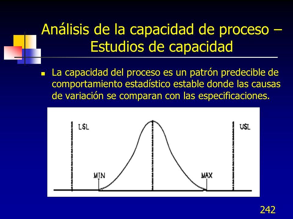 Análisis de la capacidad de proceso – Estudios de capacidad