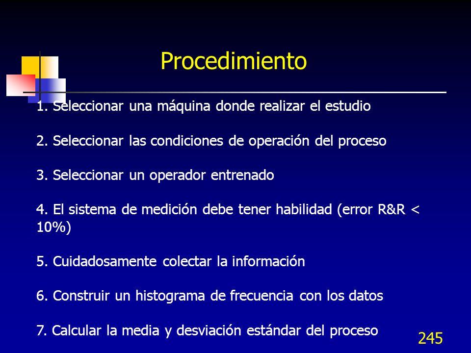 Procedimiento 1. Seleccionar una máquina donde realizar el estudio