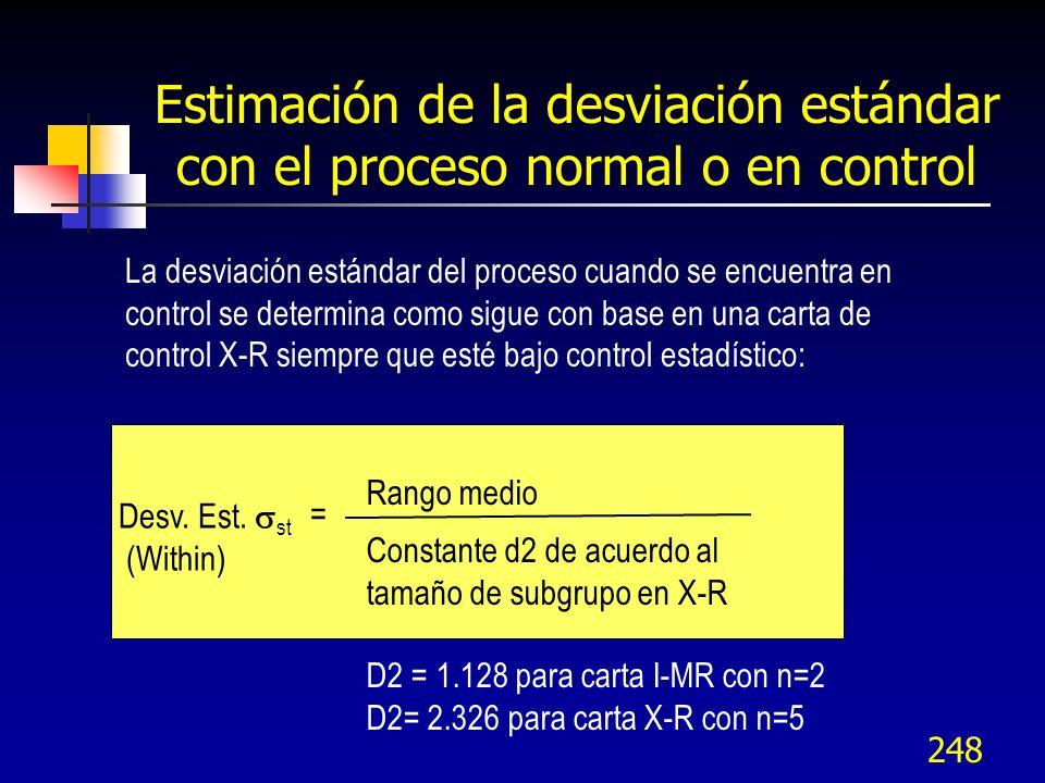 Estimación de la desviación estándar con el proceso normal o en control