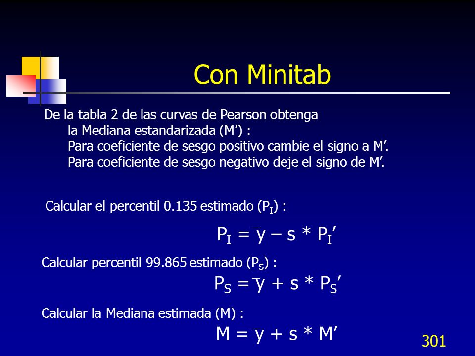 Con Minitab PI = y – s * PI' PS = y + s * PS' M = y + s * M'