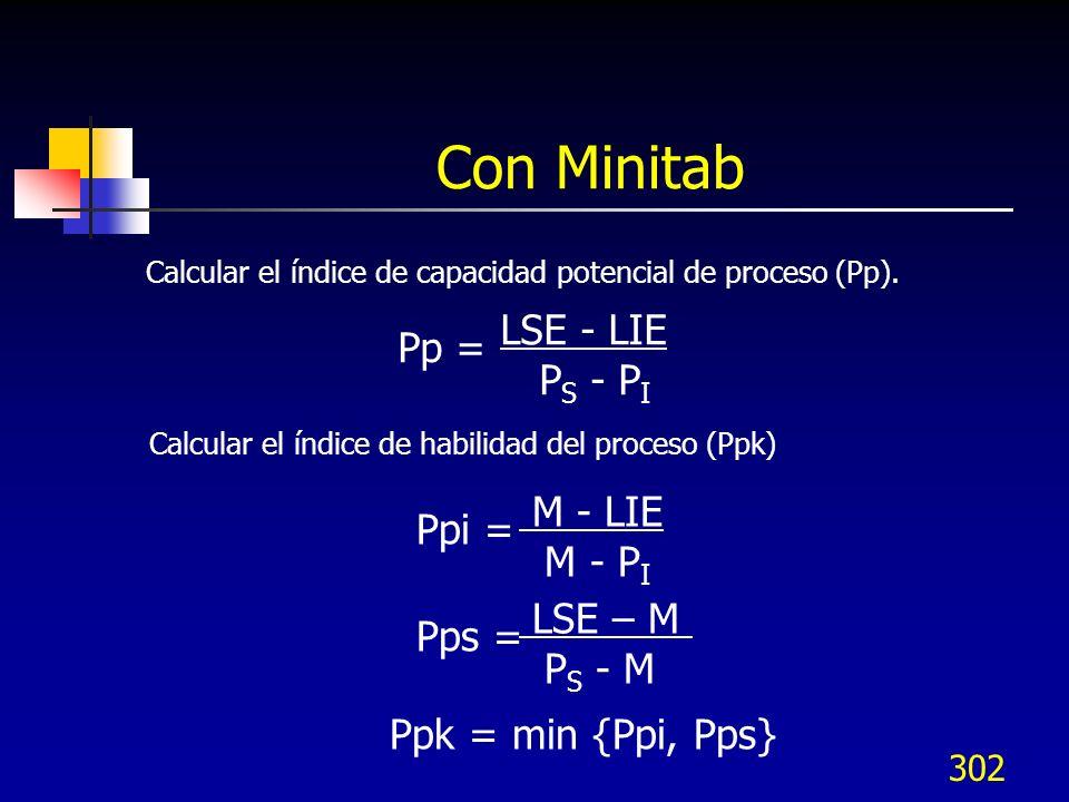 Con Minitab LSE - LIE Pp = PS - PI M - LIE Ppi = M - PI LSE – M Pps =