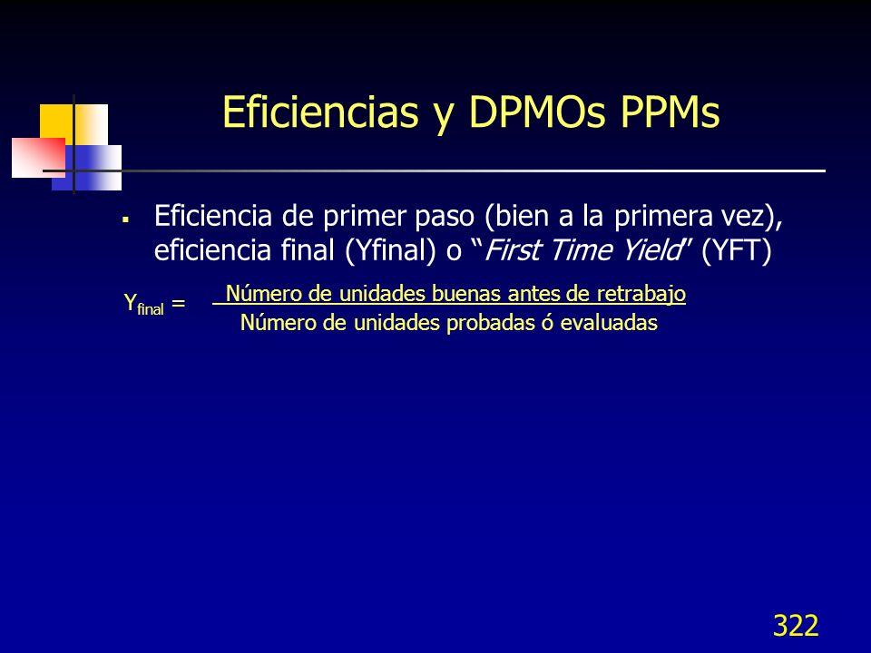 Eficiencias y DPMOs PPMs