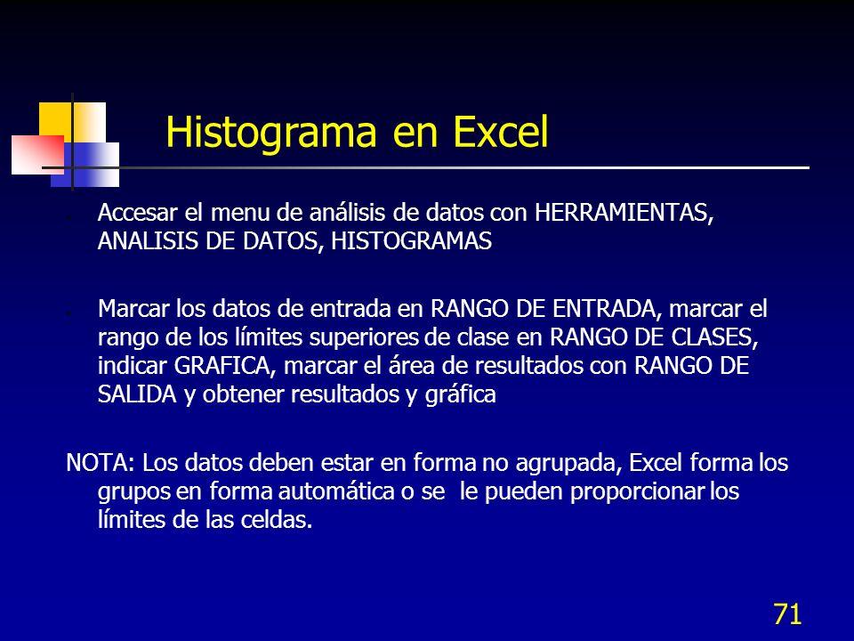 Histograma en Excel Accesar el menu de análisis de datos con HERRAMIENTAS, ANALISIS DE DATOS, HISTOGRAMAS.