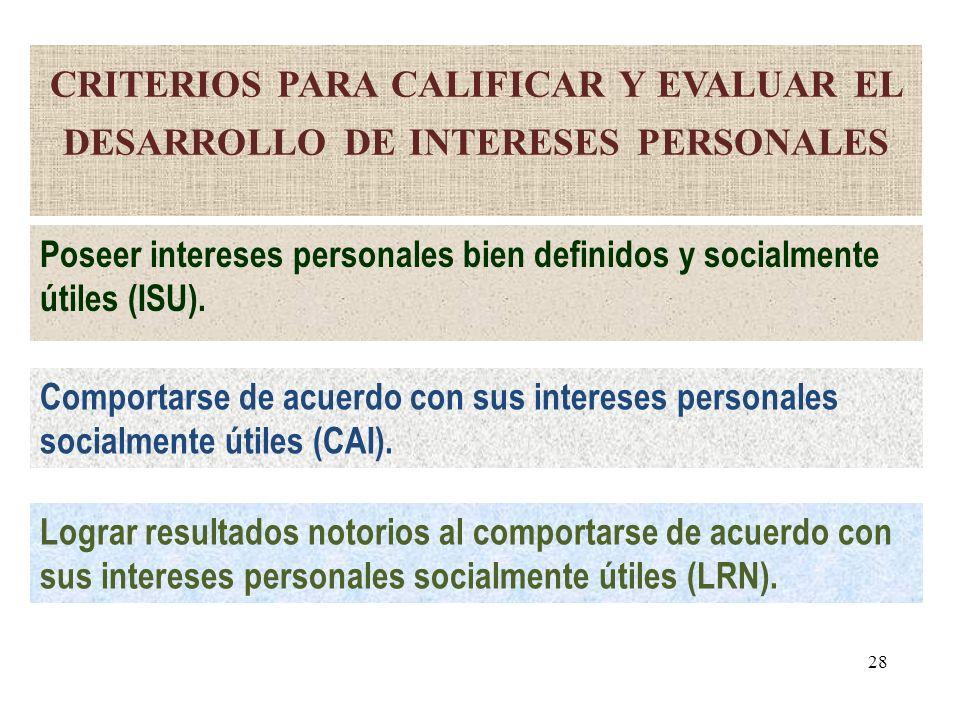 criterios para calificar y evaluar el desarrollo de intereses personales