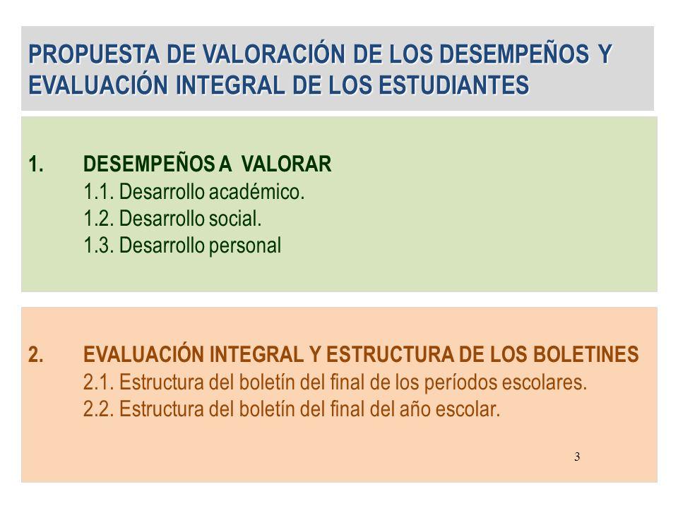 PROPUESTA DE VALORACIÓN DE LOS DESEMPEÑOS Y EVALUACIÓN INTEGRAL DE LOS ESTUDIANTES