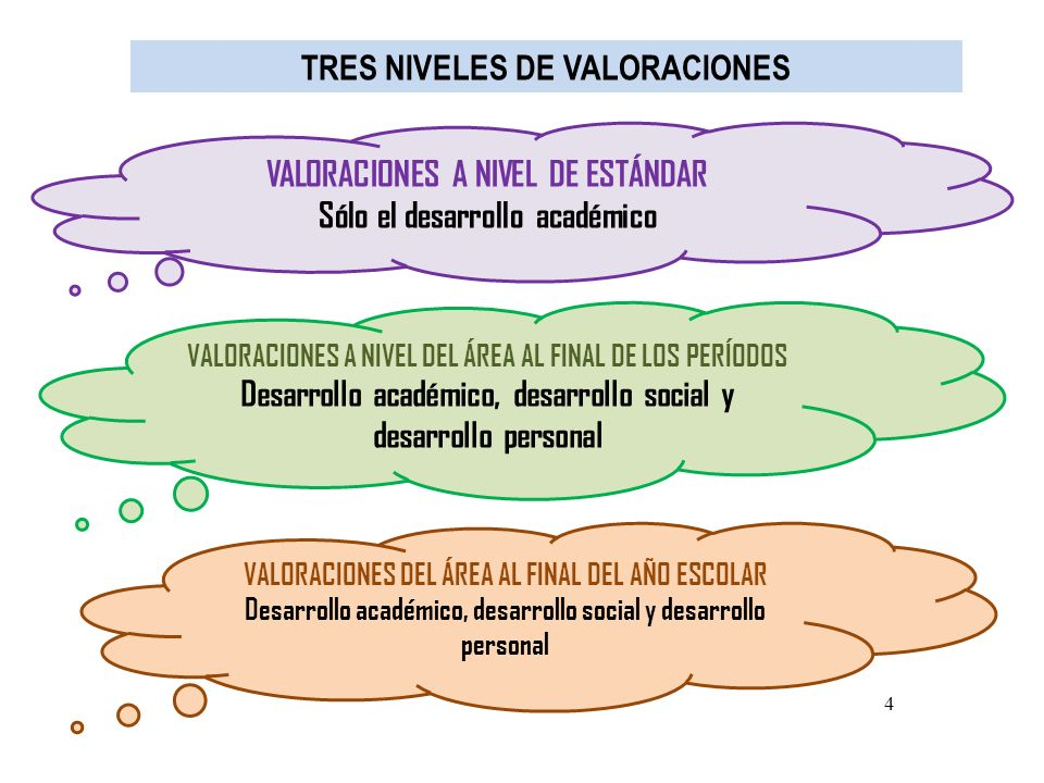 TRES NIVELES DE VALORACIONES