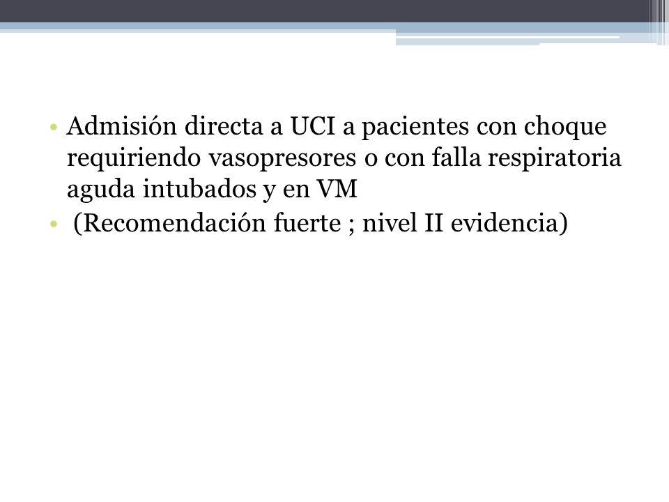 Admisión directa a UCI a pacientes con choque requiriendo vasopresores o con falla respiratoria aguda intubados y en VM