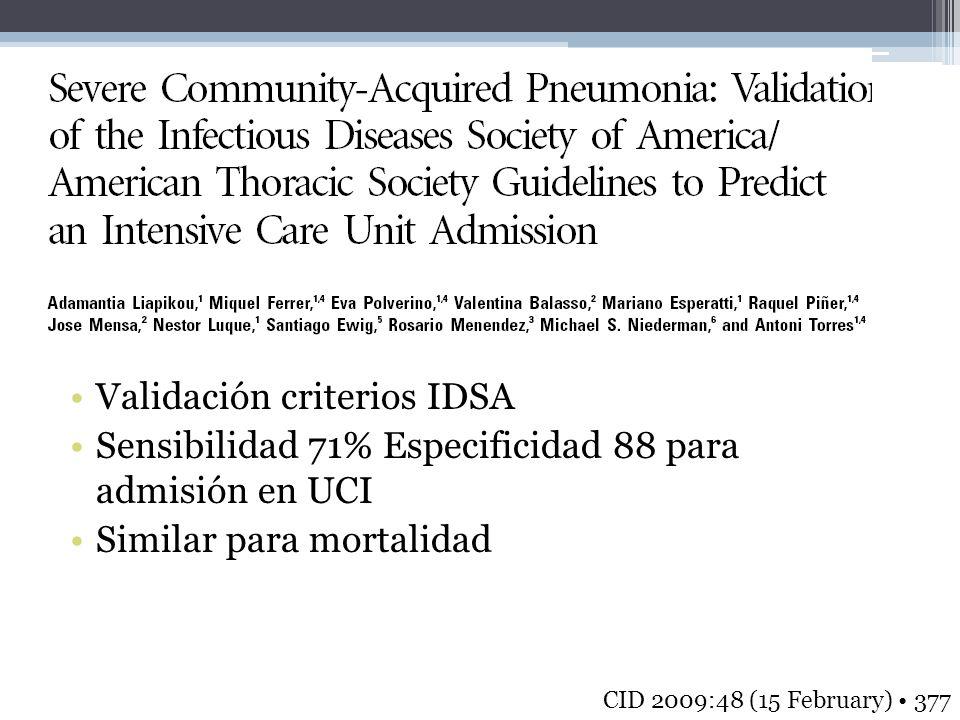 Validación criterios IDSA