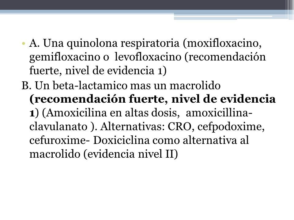 A. Una quinolona respiratoria (moxifloxacino, gemifloxacino o levofloxacino (recomendación fuerte, nivel de evidencia 1)