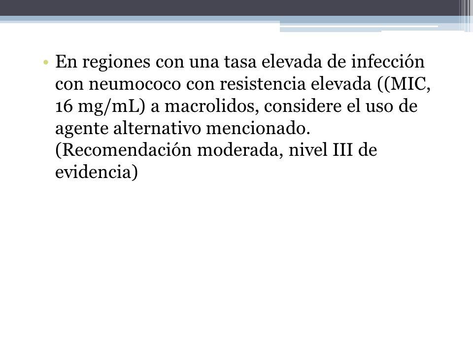 En regiones con una tasa elevada de infección con neumococo con resistencia elevada ((MIC, 16 mg/mL) a macrolidos, considere el uso de agente alternativo mencionado.