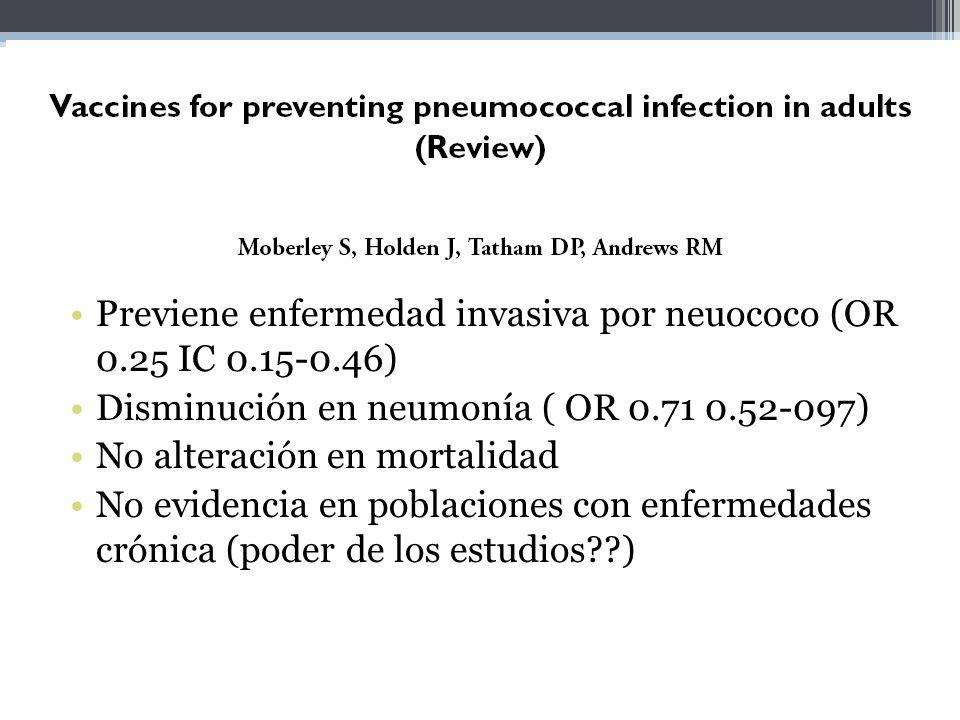13 RCT 7 NO RCT Previene enfermedad invasiva por neuococo (OR 0.25 IC 0.15-0.46) Disminución en neumonía ( OR 0.71 0.52-097)