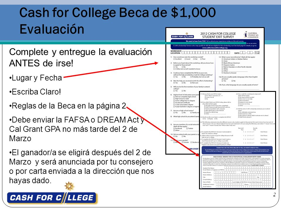 Cash for College Beca de $1,000 Evaluación