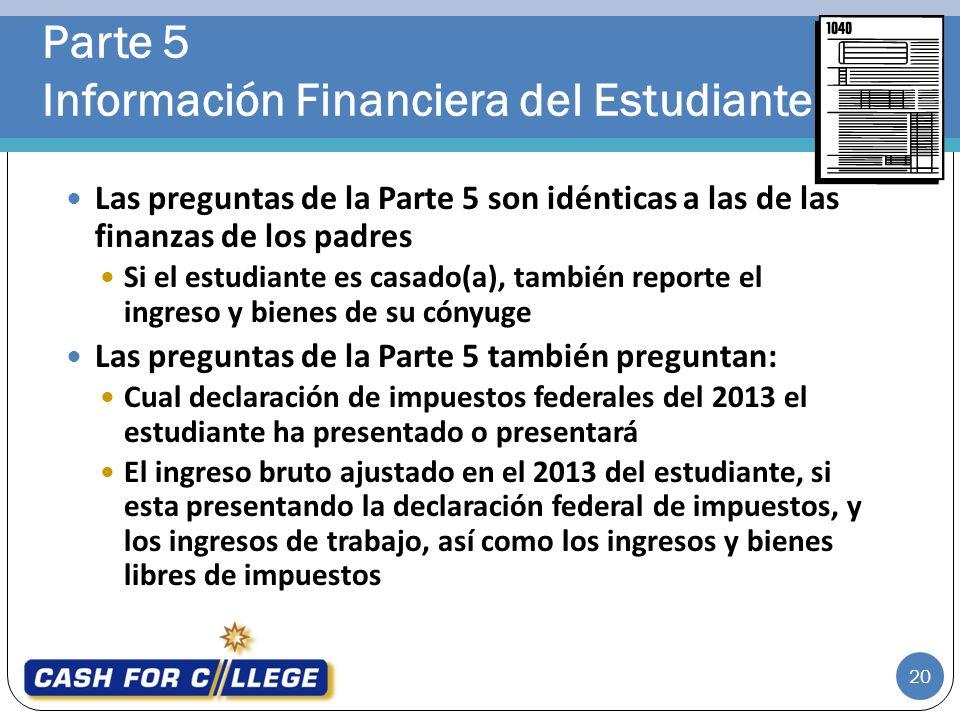 Parte 5 Información Financiera del Estudiante