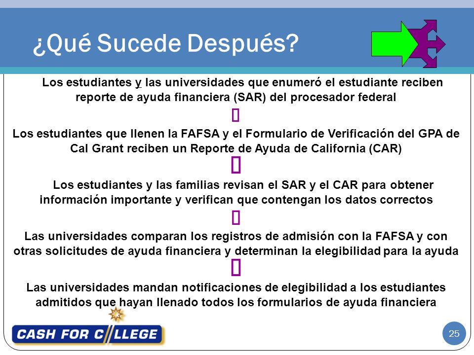 ¿Qué Sucede Después Los estudiantes y las universidades que enumeró el estudiante reciben reporte de ayuda financiera (SAR) del procesador federal.