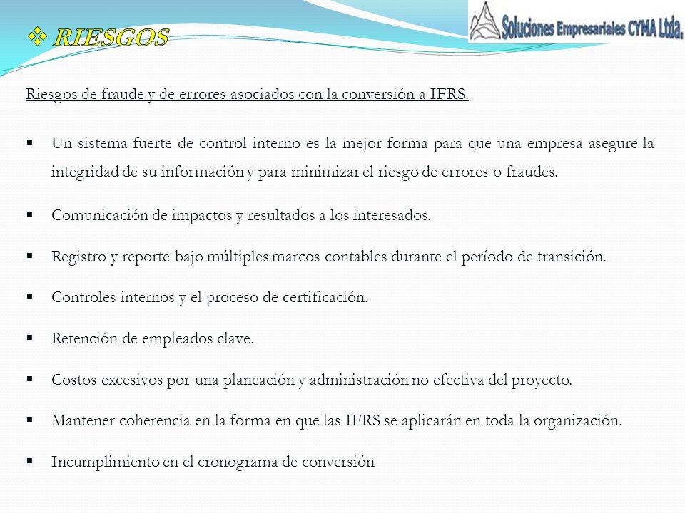RIESGOS Riesgos de fraude y de errores asociados con la conversión a IFRS.