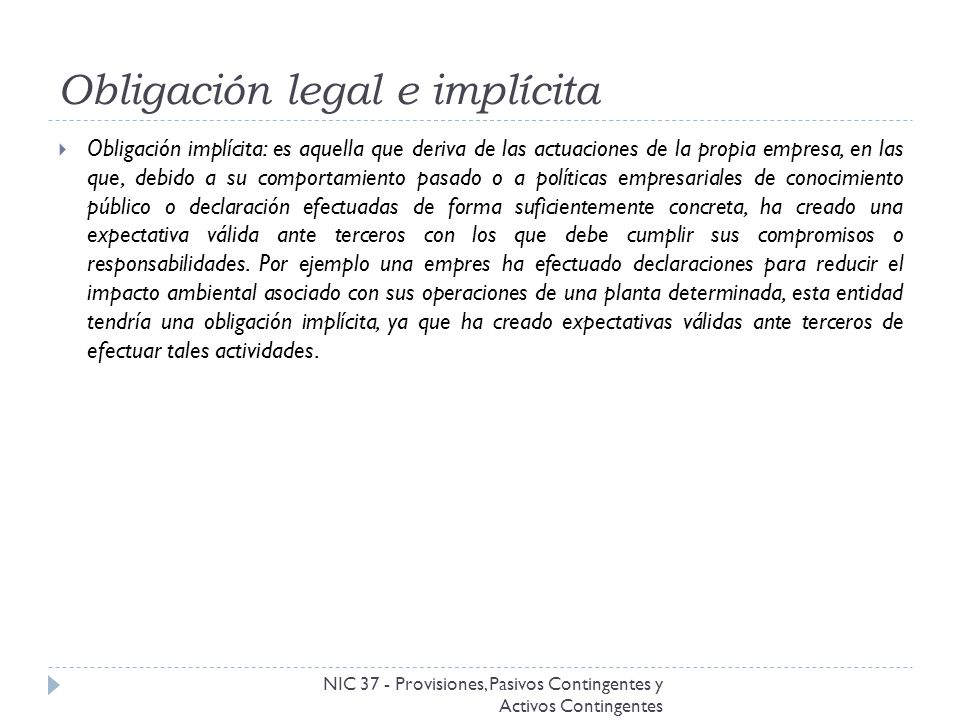 Obligación legal e implícita