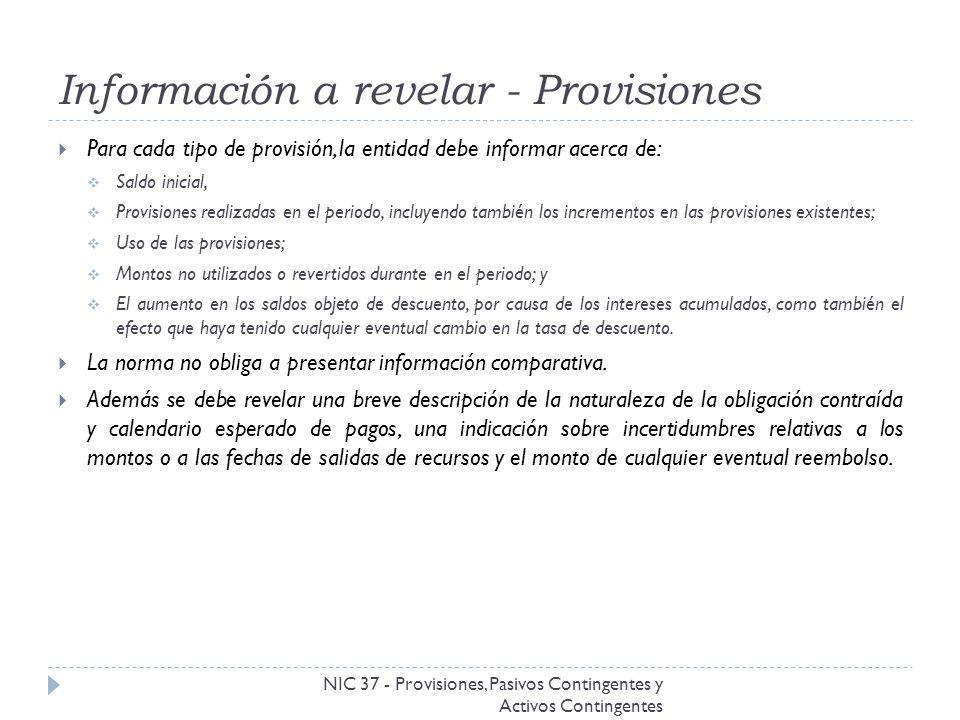 Información a revelar - Provisiones