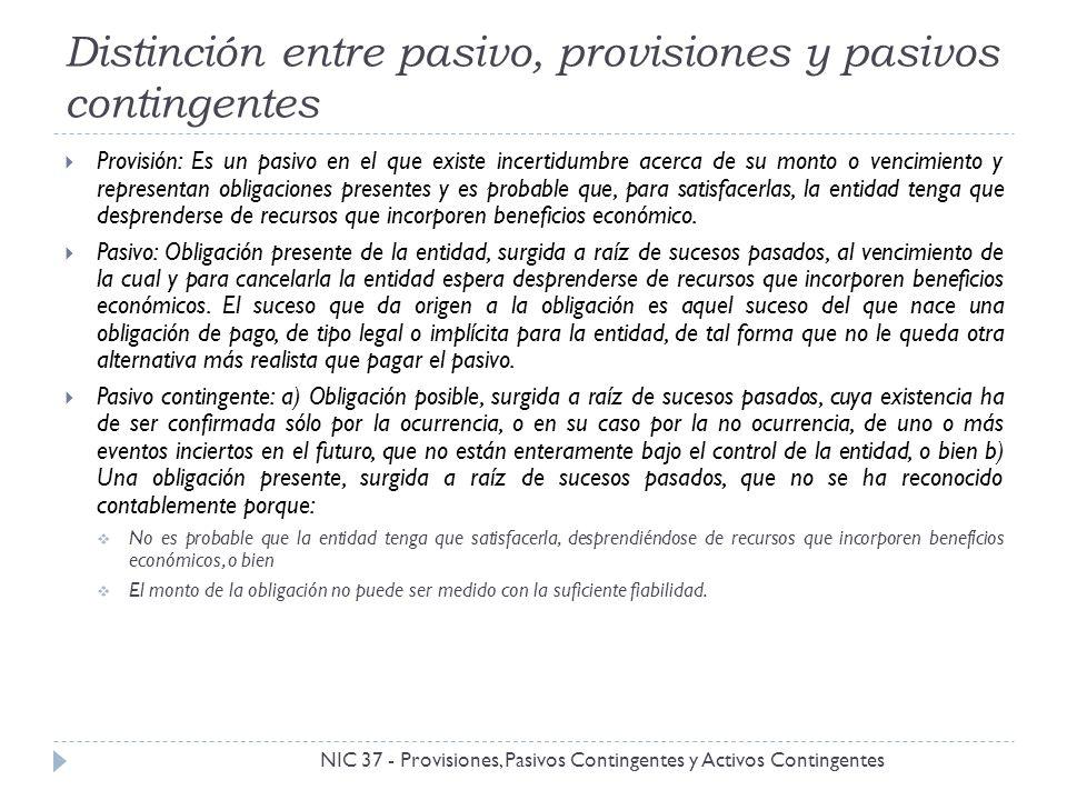 Distinción entre pasivo, provisiones y pasivos contingentes