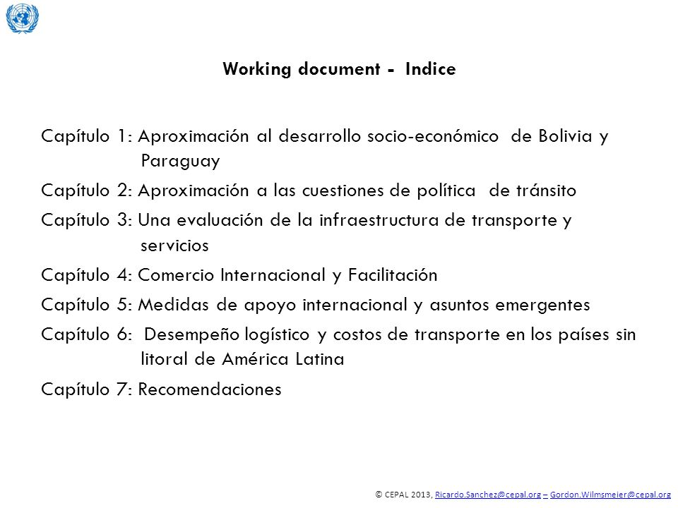 Working document - Indice