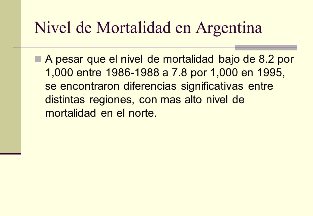 Nivel de Mortalidad en Argentina