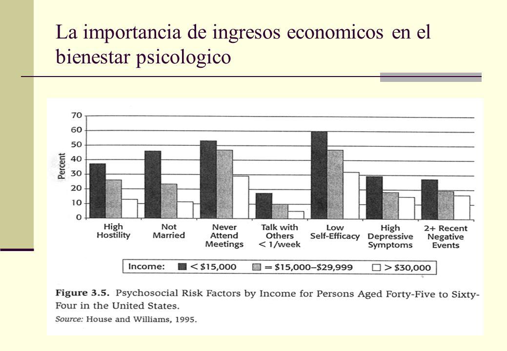 La importancia de ingresos economicos en el bienestar psicologico