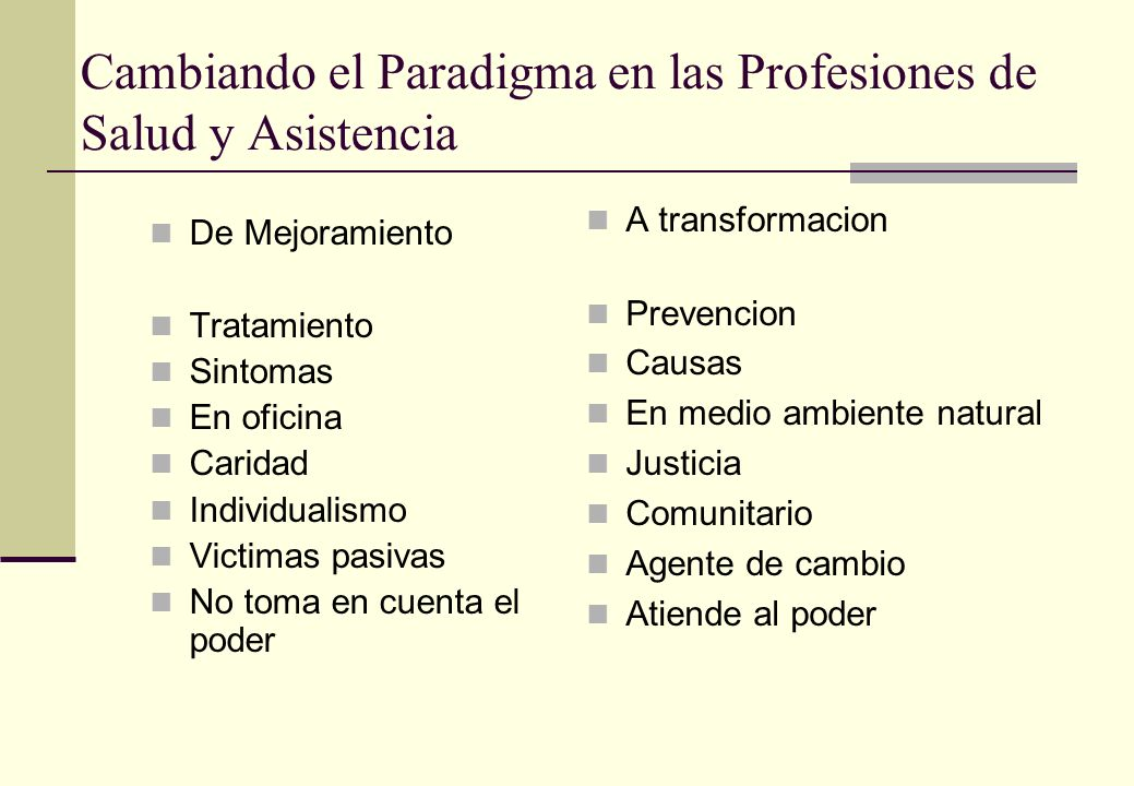 Cambiando el Paradigma en las Profesiones de Salud y Asistencia