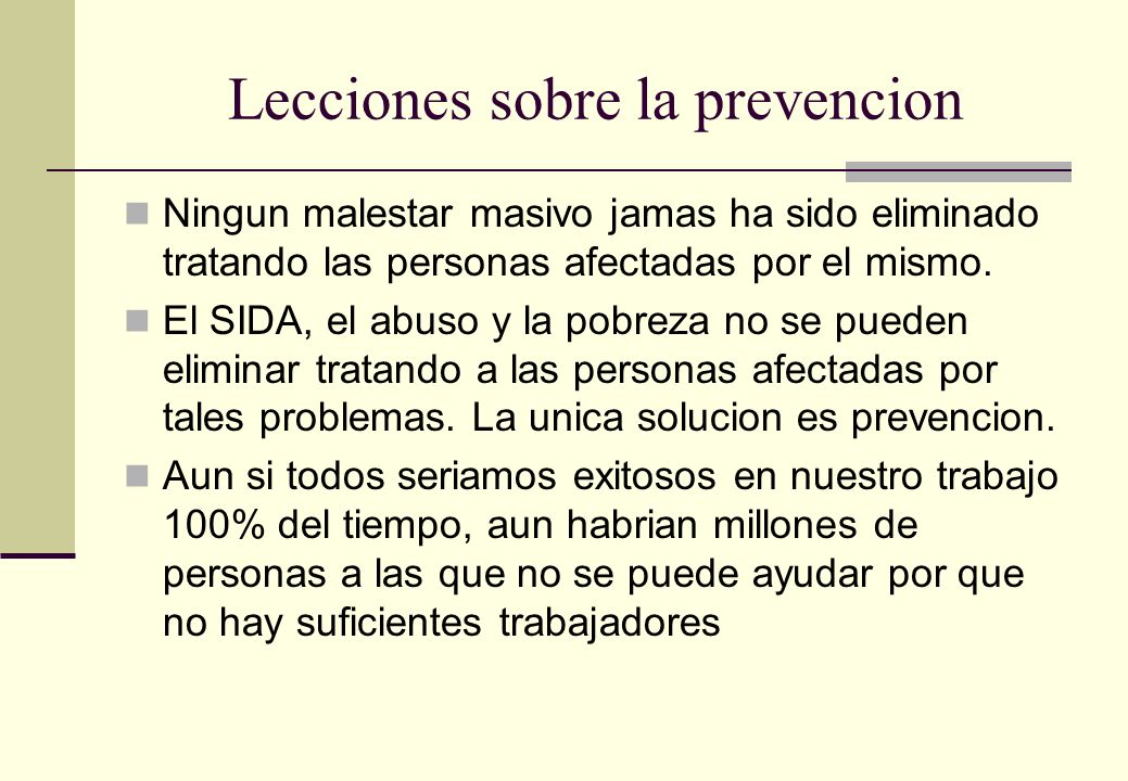 Lecciones sobre la prevencion