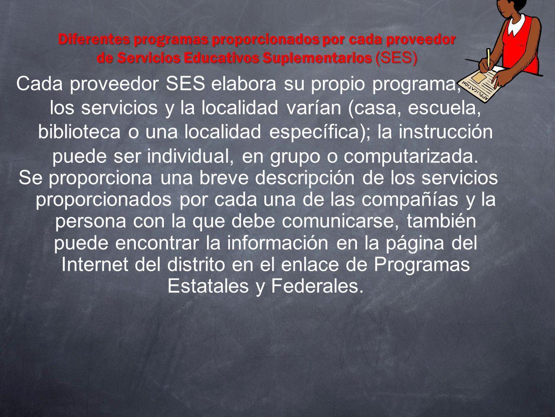 Diferentes programas proporcionados por cada proveedor de Servicios Educativos Suplementarios (SES)