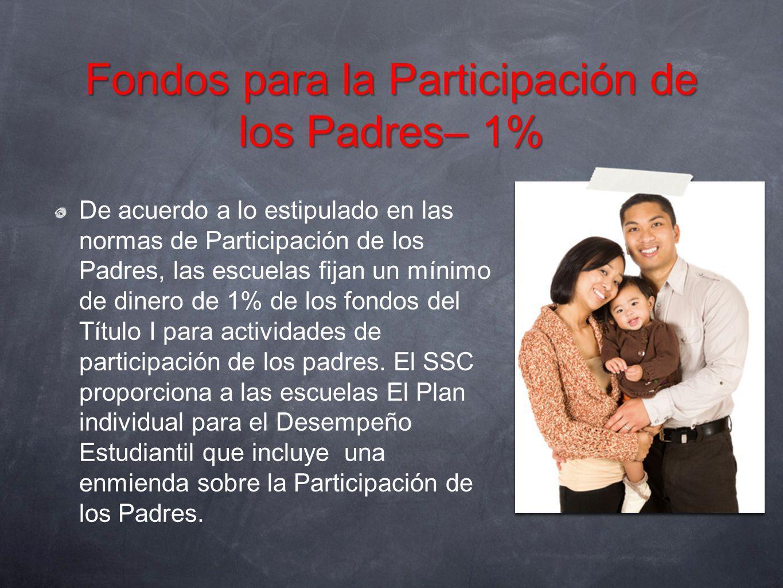 Fondos para la Participación de los Padres– 1%