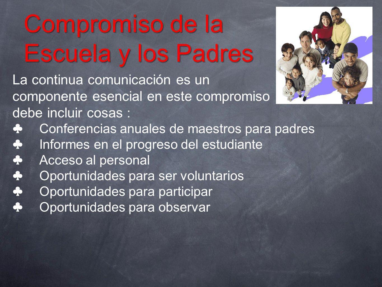 Compromiso de la Escuela y los Padres