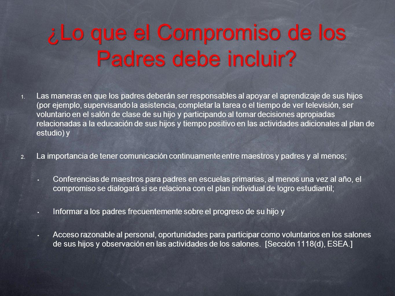 ¿Lo que el Compromiso de los Padres debe incluir