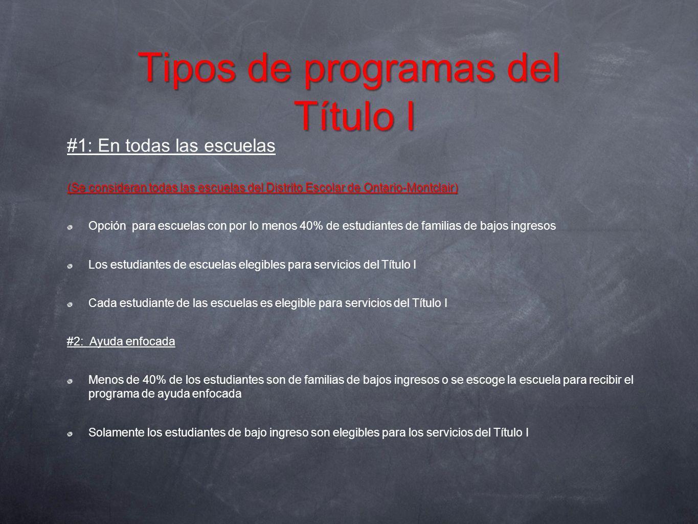 Tipos de programas del Título I