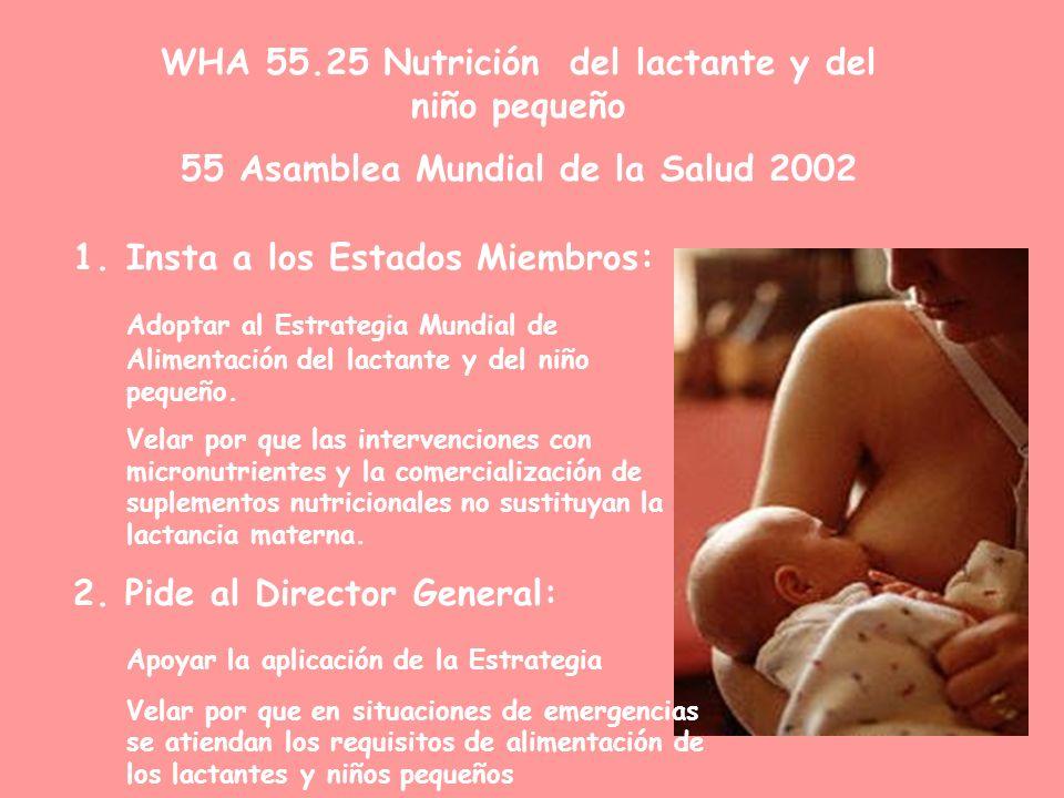 WHA 55.25 Nutrición del lactante y del niño pequeño