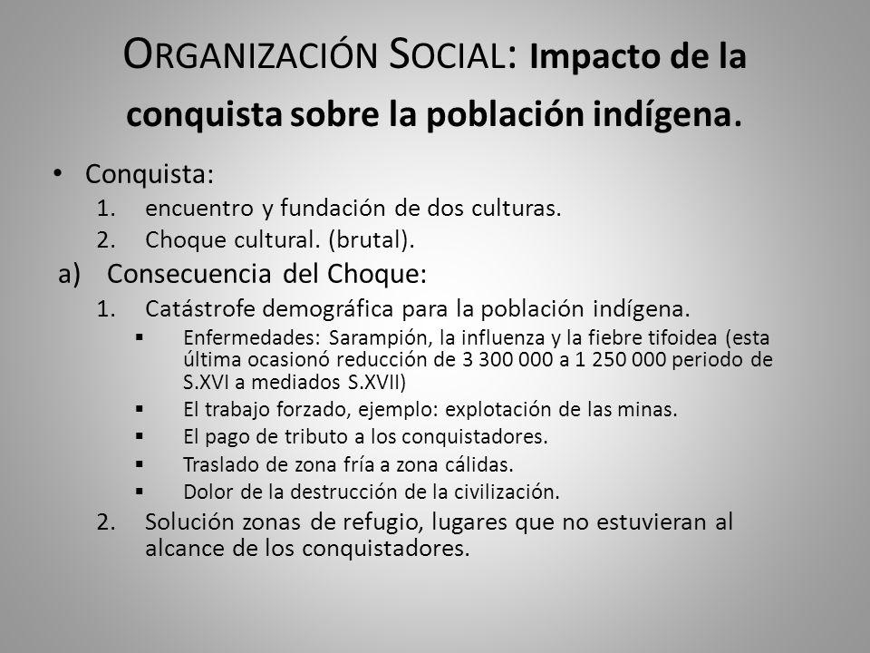 Organización Social: Impacto de la conquista sobre la población indígena.